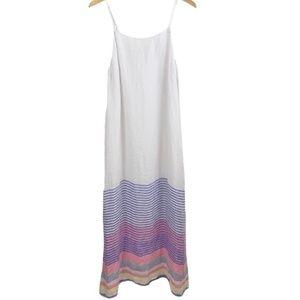 C&C California Linen Striped Maxi Dress White